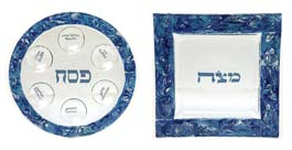 Fused Glass Seder Set - Marbled Blue/ Turquoise