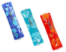 Fused Glass Mezuzah Covers - Flowers