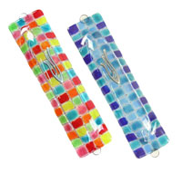 Fused Glass Mezuzah Covers - Chess