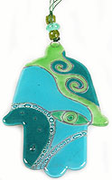 Fused Glass Hamsa - Jade