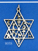 Sterling Star Pendant with Symbols of 12 Tribes