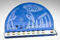Art Glass & Metal Menorah - Jazz