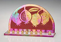 Stained Glass Art Menorah - Pomegranates