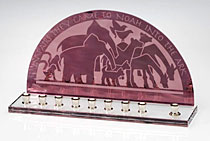 Stained Glass Art Menorah - Animals of the Ark