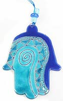Fused Glass Hamsa - Blue with Swirl