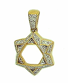 14K Gold 2 Tone Star Pendant - Diamonds