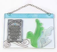 Fused Glass Business Blessing - Green Dove