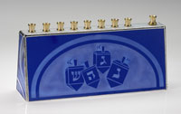Art Glass & Metal Menorah - Dreidel Menorah II