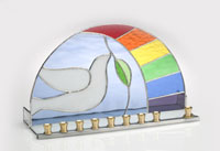 Art Glass & Metal Menorah - Dove of Peace with Rainbow