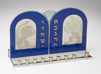 Art Glass & Metal Menorah - Lions of Judah I Menorah