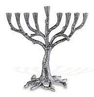 Silver Tone Metal Tree Menorah
