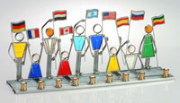 Art Glass & Metal Menorah - Jewish Children of the World