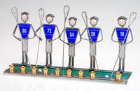 Art Glass & Metal Menorah - Lacrosse Menorah