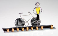 Art Glass & Metal Menorah - Bicycle Menorah