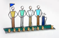Art Glass & Metal Menorah - Golfer Menorah