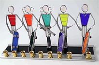 Art Glass & Metal Menorah - Skateboard