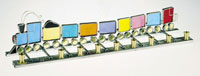 Art Glass & Metal Menorah - Train Menorah