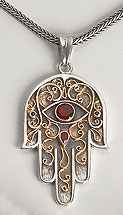 Sterling Silver and 14K Gold Hamsa Pendant