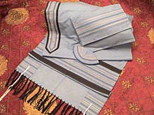Soft Cotton Luxurious Tallit Set - Soft Blue & Black Stripes