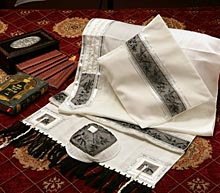 Soft Cotton Luxurious Tallit Set - Black Flowers with Beads