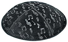 Embossed Suede Kippot - Musical Notes