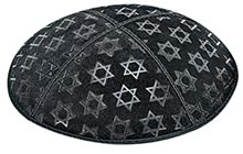 Embossed Suede Kippot - Stars of David