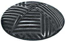 Embossed Suede Kippot - Angled Stripes