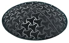 Embossed Suede Kippot - Wheels