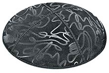 Embossed Suede Kippot - Scribble