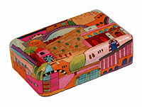 Wooden Jewelry Box - Jerusalem Pastel