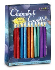 Multi Color Metallic Hanukkah Candles