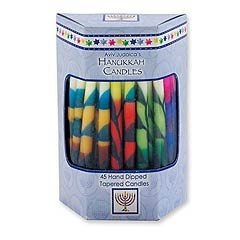 Deluxe Rainbow Colors Tapered Hanukkah Candles