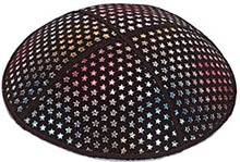 Foil Embossed Suede Kippot - Small Colored Stars