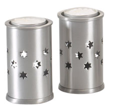 Aluminum Candlestick Set w Cut out Stars - Tea Lights