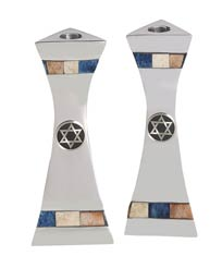 Aluminum Candlestick Set with Inlaid Stones