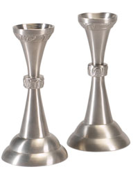 Set of Pewter Shabbat Candlesticks