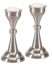 Set of Pewter Shabbat Candlesticks - Tea Lights