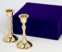 Traditional Brass Plated Candlesticks - Velvet Box
