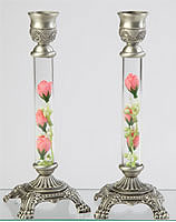 Pewter and Glass Candlesticks with Silk Flowers