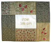 Raw Silk Embroidered Challah Covers - Gold Green