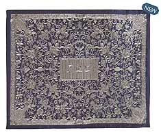 Oriental Embroidered Challah Cover -  Blue Silver