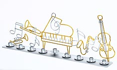 All Metal Clef Note Menorah