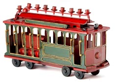 All Metal Trolly Menorah