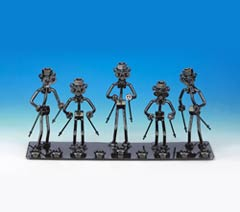 Steel Nuts & Bolts Menorah - Skier