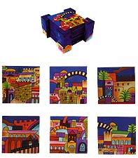 Set of 6 Wooden Coasters - Jerusalem