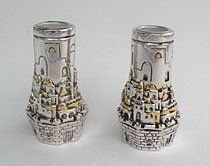 Silver & Gold Plated Electrfoam Candlesticks - Jeruslaem