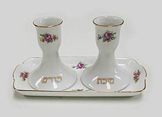 Ceramic Candlestick Set with Tray
