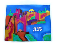 Emanuel Painted Silk Challah Cover - Jaffa Gate