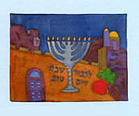Emanuel Painted Silk Challah Cover - Menorah on Jerusalem