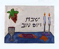 Emanuel Painted Silk Challah Cover - Shabbat Table